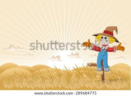 Farm landscape with cartoon scarecrow  - stock vector