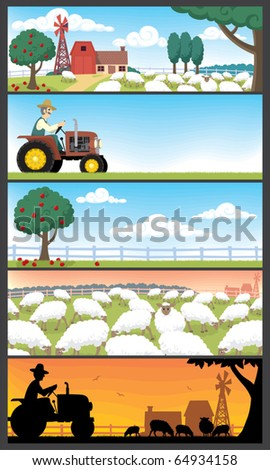 Farm Landscapes: 5 farm landscapes. Very suitable for website banners. No transparency and gradients used. - stock vector