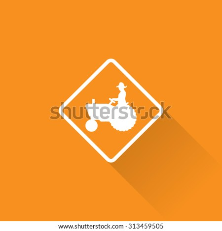 Farm Machinery Crossing Sign - stock vector