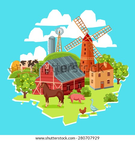 Farm multicolored concept with barn windmill cow pig goose chicken haystack trees vector illustration - stock vector