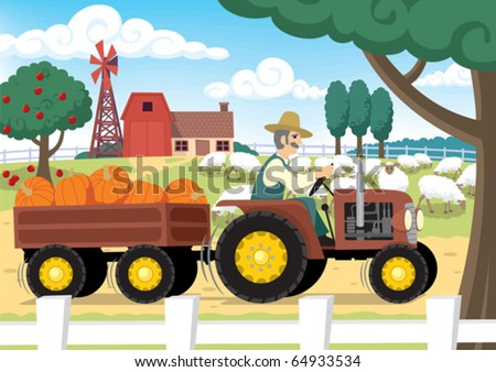 "Farm: ""Old MacDonald had a farm…"" No transparency and gradients used. - stock vector"