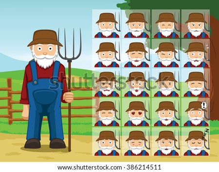 Farm Old Man Cartoon Emotion faces Vector Illustration - stock vector