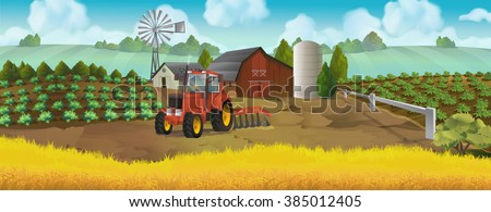 Farm, panorama landscape, vector background - stock vector