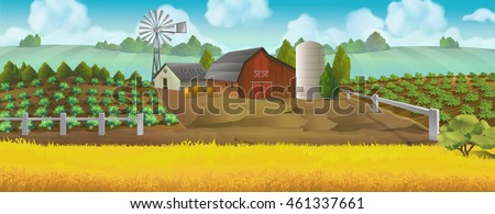 Farm panorama. Landscape with farm house. Vector background