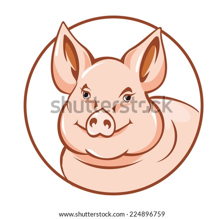 Farm pig in circle for agriculture design - stock vector
