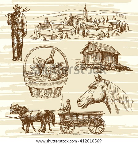 Farm, rural landscape, agriculture - hand drawn collection - stock vector