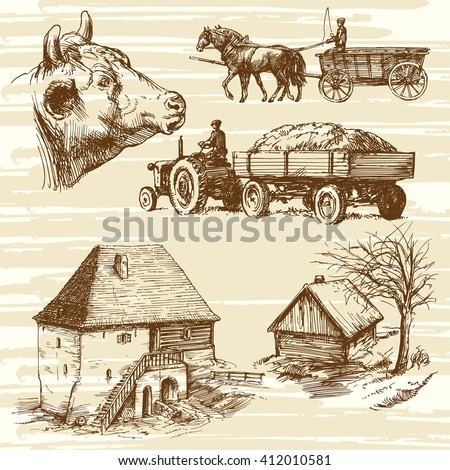 Farm rural landscape agriculture hand drawn collection