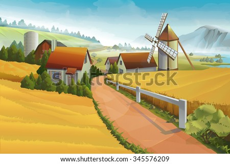Farm rural landscape vector background - stock vector