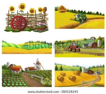 Farm, rural landscape, vector set - stock vector