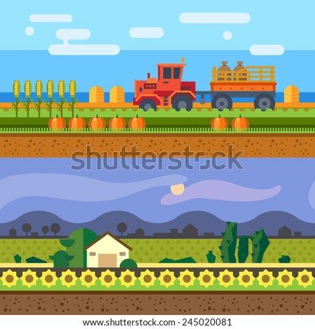 Farm seamless backgrounds. Tractor working in field, hay, harvesting, evening on farm. Vector flat illustrations - stock vector