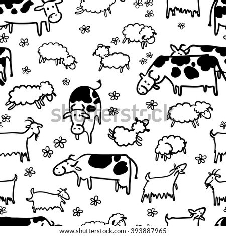 Farm seamless pattern with sheep, goat and cow. Doodle hand-drawn vector - stock vector