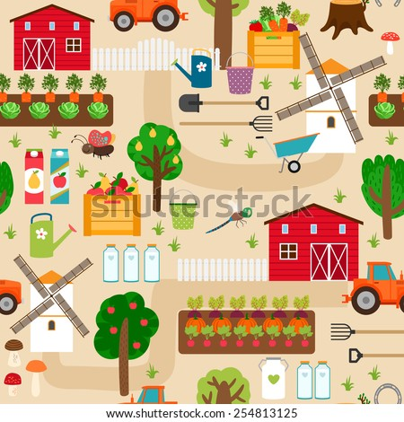 Farm seamless pattern with tractor and beds, apple trees and mill, pear trees and beds of vegetables. Vector illustration - stock vector
