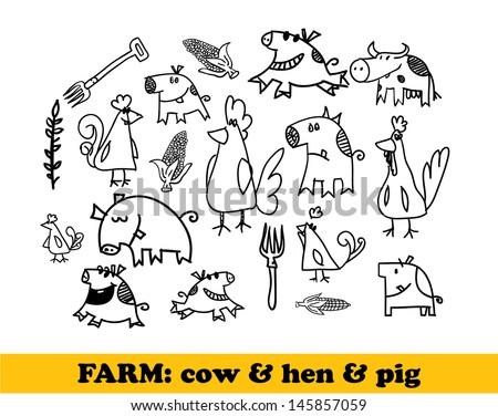 Farm set - cows, hens, pigs - vector illustration - stock vector