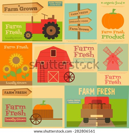 Farm. Set Mini Posters in Flat and Retro style. Collection of Advertising Farm Fresh Products. Farm Machines and Items. Layered file. Vector illustration. - stock vector
