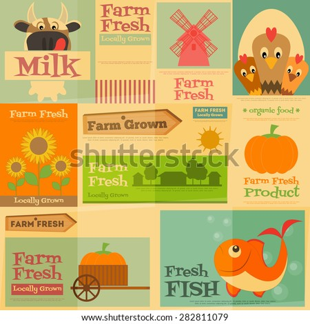 Farm. Set Mini Posters in Flat and Retro style. Collection of Advertising Farm Fresh Products. Farm Animals and Items. Layered file. Vector illustration. - stock vector