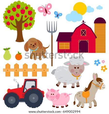 Farm Set Animals Donkey Pig Sheep Stock Vector HD Royalty Free 649002994