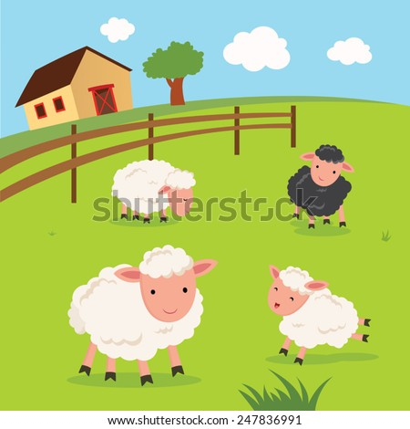 Farm. Sheep and farmhouse. - stock vector