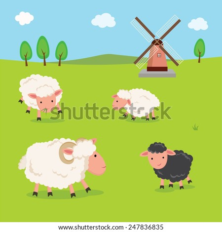 Farm. Sheep and windmill. - stock vector