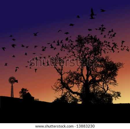 Farm sunset - stock vector