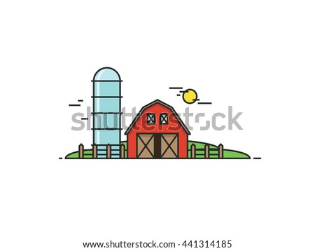 Farm thin line background isolated on white back. Modern flat vector illustration