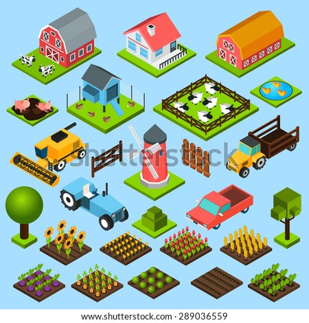 Farm toy blocks modeling mill harvesting combine and chicken house isometric icons set isolated abstract vector illustration - stock vector