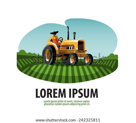 Farm. Tractor and Harvest. Logo, icon, emblem, template - stock vector