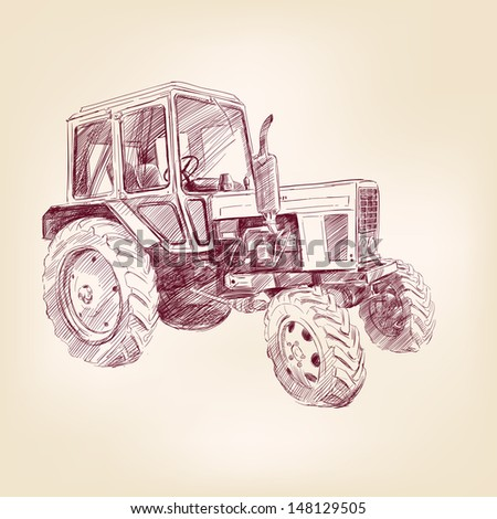 Farm tractor  hand drawn  vector illustration  realistic sketch - stock vector