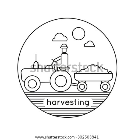 Farm tractor vector logo design. Line drawing. Harvesting, agriculture. Flat design vector illustration - stock vector