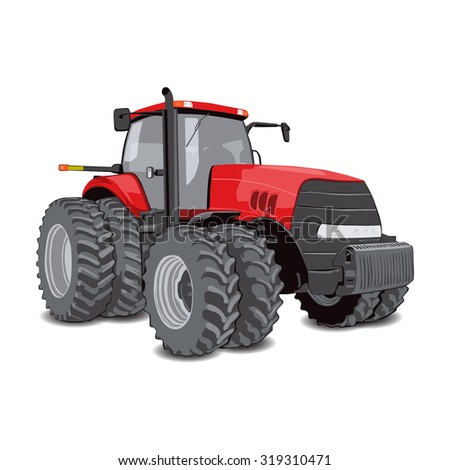 Farm tractor with big wheels. Isolated vector illustration on white.