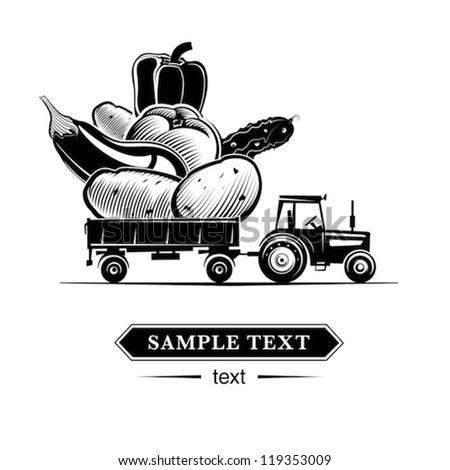 Farm tractor with vegetables. Vector illustration in the engraving style - stock vector