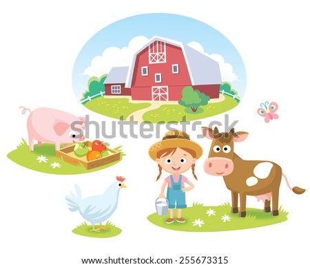 farm with barn and animals