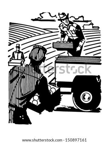Farm Workers - Retro Clip Art Illustration - stock vector