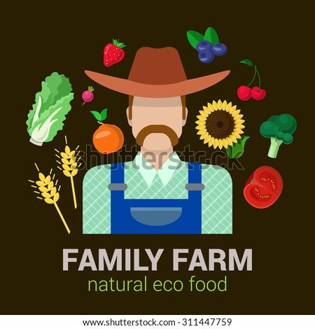 Farmer and harvest natural eco food. Stylish quality detail icon set farm fruit vegetable berry plants. Agriculture logo company identity mockup template concept. Food farming collection. - stock vector