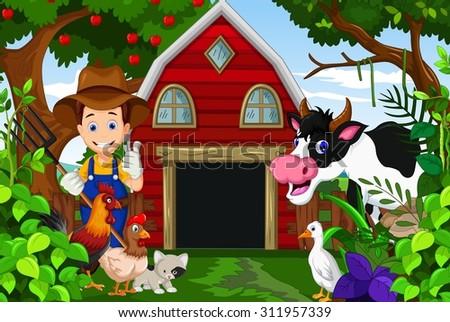 farmer at his farm with a bunch of farm animals  - stock vector