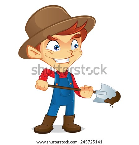 Farmer digging  - stock vector