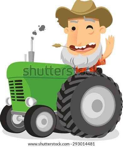 farmer driving tractor vector cartoon illustration - stock vector