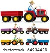 Farmer: Farmer, driving an old tractor. You can place a product or other stuff in the trailer. No transparency and gradients used. - stock vector