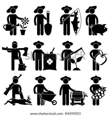 Farmer Gardener Fisherman Poultry Lumberjack Hunter Village Job Occupation Sign Pictogram Symbol Icon - stock vector