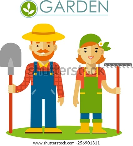 Farmer gardener man and woman with shovel in flat style - stock vector