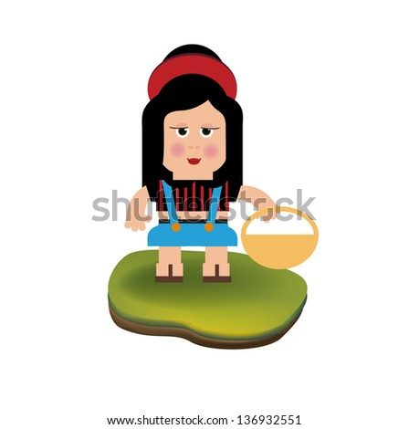 farmer girl isolated on white background - stock vector