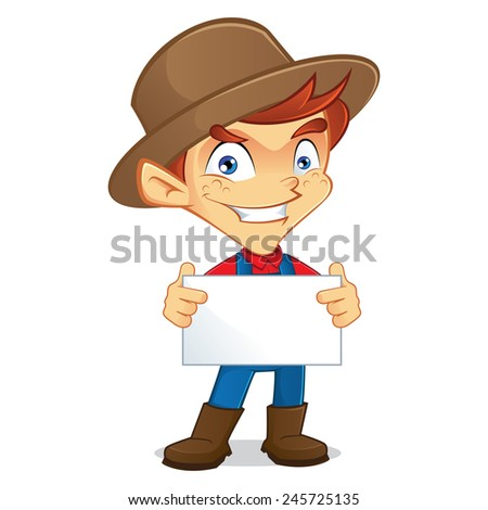 farmer holding sign - stock vector