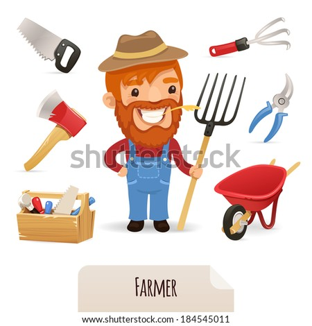 Farmer Icons Set. In the EPS file, each element is grouped separately. Isolated on white background. JPG with paths. - stock vector