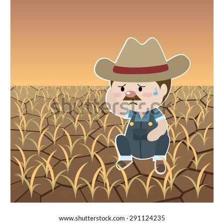 farmer in desert farm cartoon vector - stock vector