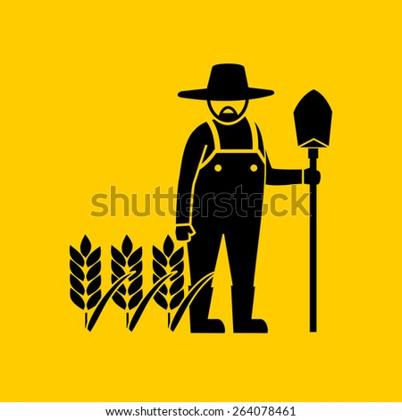 Farmer man and the field.vector - stock vector