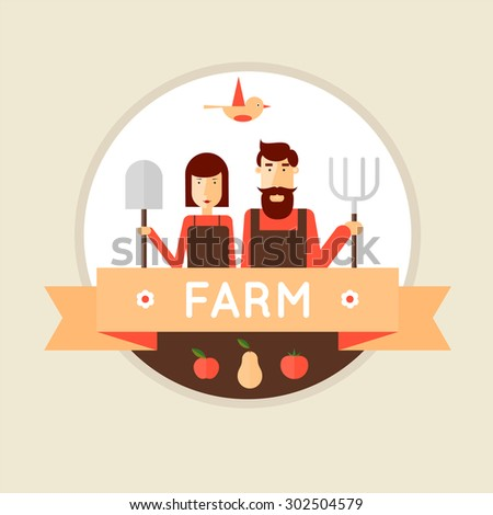 Farmer man and woman. Harvesting, agriculture. Flat design vector illustration - stock vector