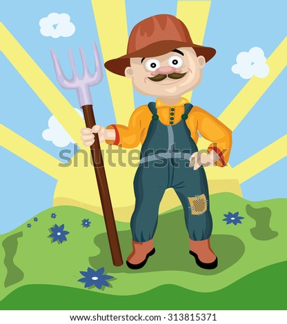Farmer man with a mustache wearing a hat holding a rake in his hand - stock vector