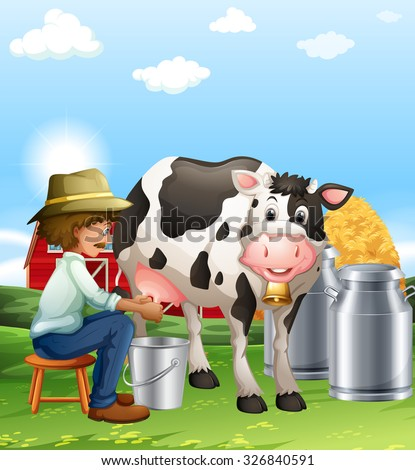 Farmer milking a cow at daytime illustration - stock vector