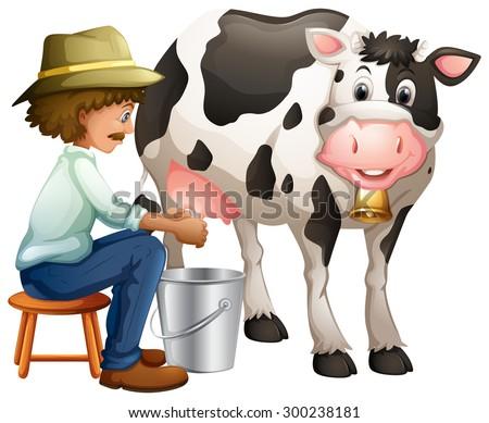 Farmer milking cowing in the bucket - stock vector