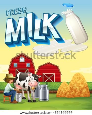 Farmer milking the cow in the farm illustration - stock vector