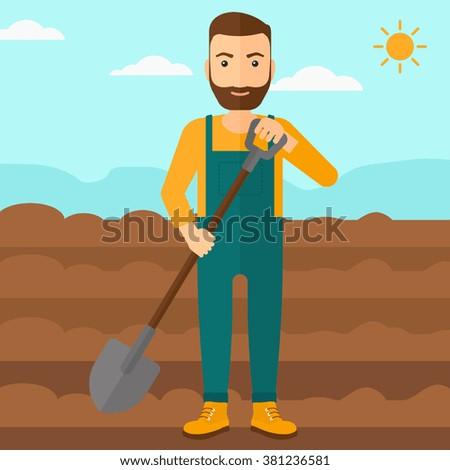 Farmer on the field with shovel. - stock vector